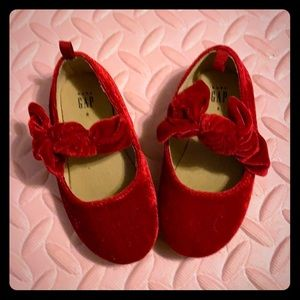 Red vervet flats with bow